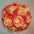 "Extra Large 11"" Round Wedding Bouquet with  True Touch Open Faced Roses."