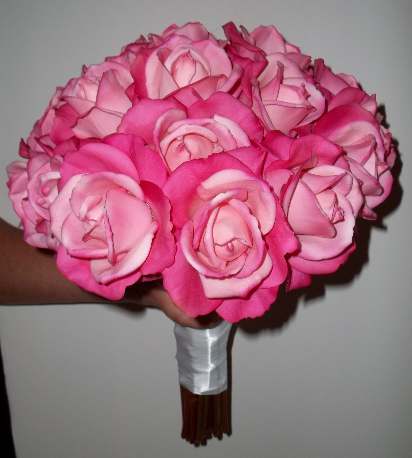 "Beautiful 12"" Round Supreme Wedding Bouquet. True Touch Open Faced Roses."