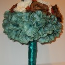 Super Summer Sale. Large Round Bouquet. Ivory, Teal and Brown.