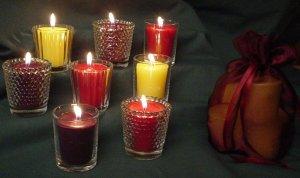 Sparkling Votive Candles--Birthday Cake