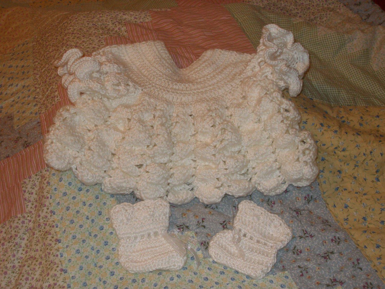 White ruffled dress and booties