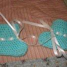 Newborn turquoise booties