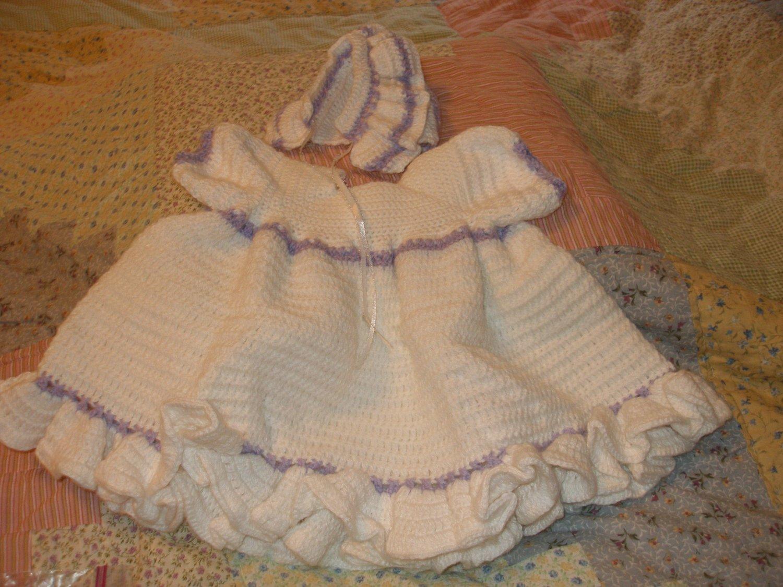 Fluffy Dress and Bonnet