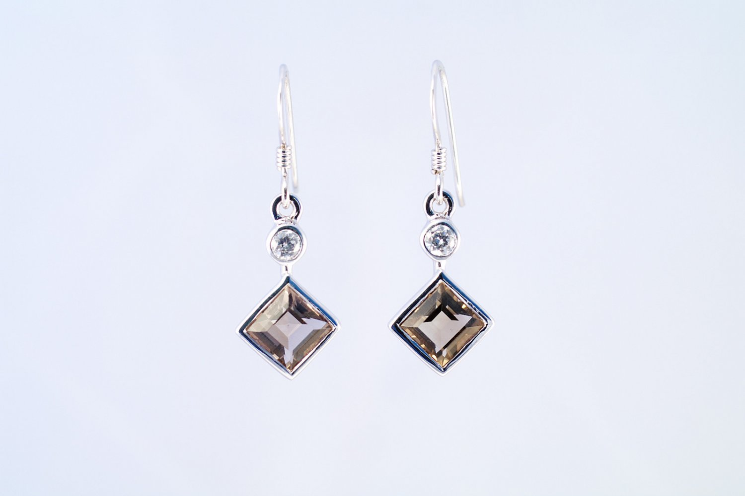 Smoky Quartz earrings 925 sterling silver W/G plated