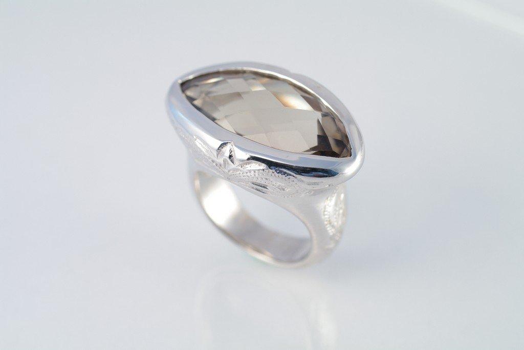 Smoky Quartz ring 925 sterling silver W/G plated