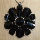 BIG PENDANT WITH CHAIN-BLACK LUCITE RESIN-SILVER TONE
