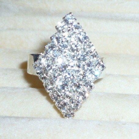 Rhinestones Fashion ring-Adjustable-Silver tone