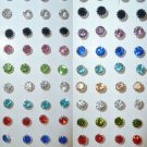 Rhinestones stud earrings-6mm-Various colours-silver plated