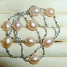 "Natural Freshwater Peach Pearls Necklace- 16"" long"