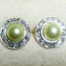 Rhinestones + Pearl stud earrings- Green-9mm diameter