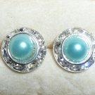 Rhinestones + Pearl stud earrings- Turquoise-9mm diameter