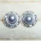 Rhinestones + Pearl stud earrings-Grey-9mm diameter
