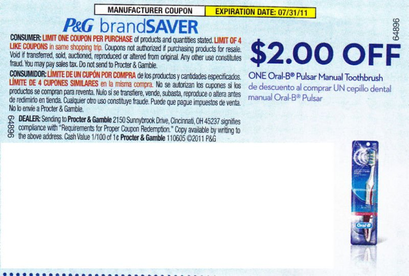 $2 OFF ONE Oral B Pulsar Manual Toothbrush exp 7/31 - Lot of 20