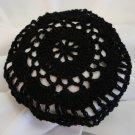 Hand Crocheted Black Hair Net / Bun Cover Flower Style Amish Mennonite