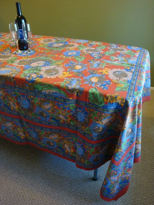 Rectangular Table Cloth featuring Sunflower Cluster Design