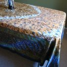 Rectangular Table Cloth in Floral Vines on Tie Dye