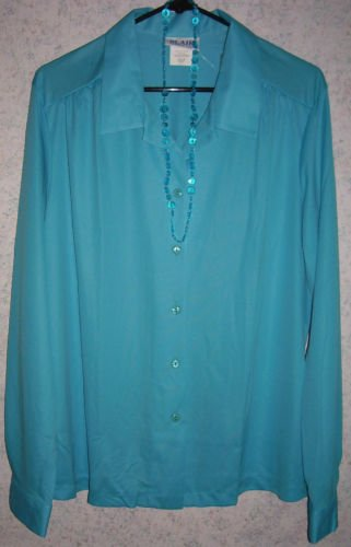 Ladies NEW Turquoise Blouse with Necklace - Size LG