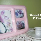 Picture Frame - Pink - Ceramic - 3 Photos - vintage