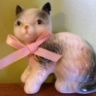 Kitty - Sitting - Ceramic with Pink Cloth Bow