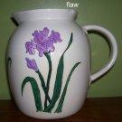 Ceramic Pitcher - Handmade - 1983 - Purple Iris motif