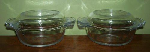 Glass bowls with lids - 10 oz - 2 - vintage