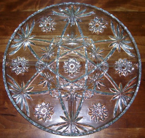 """Serving Tray - 14"""" Cut Glass Crystal - vintage"""