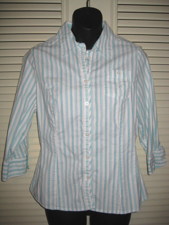 RIDERS Turquoise & White Striped Shirt Top Medium MINT