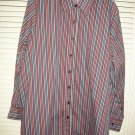 Womens Roaman's Red White Black Burgundy Striped Button Down Shirt Large
