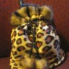 Leopard drawstring mini purse