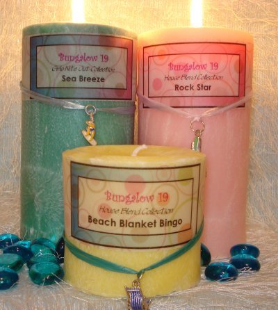 3x3 Palm Wax Pillar Candle Blue Hawaiian