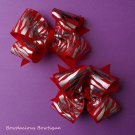 RED ZEBRA bow pair set
