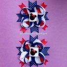PATRIOTIC MINNIE MOUSE HAIR BOW SET