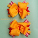 mustard yellow & reds hair bow pair set