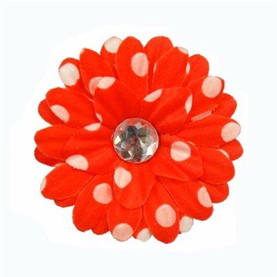 Red Polka Dot Daisy Clip