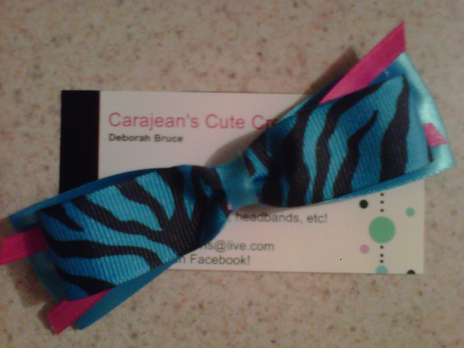 Blue,Black and Pink Zebra Bow Clip