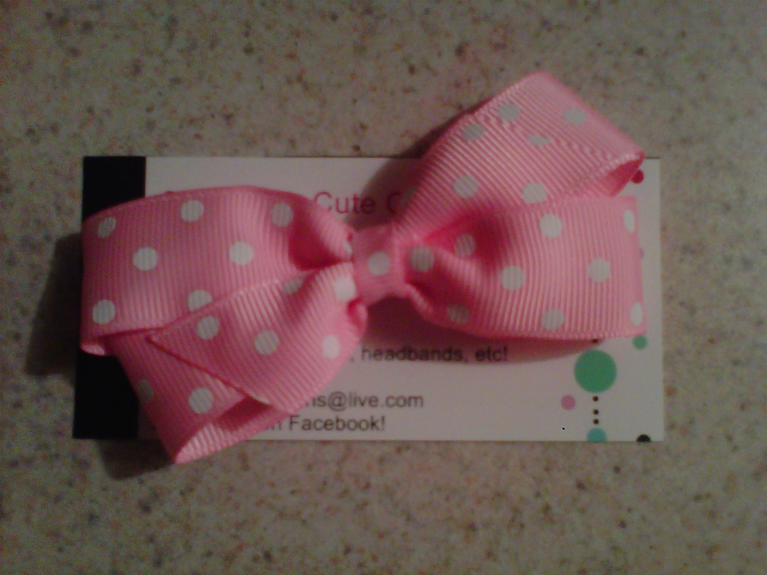 Pink and White Dots Bow Clip