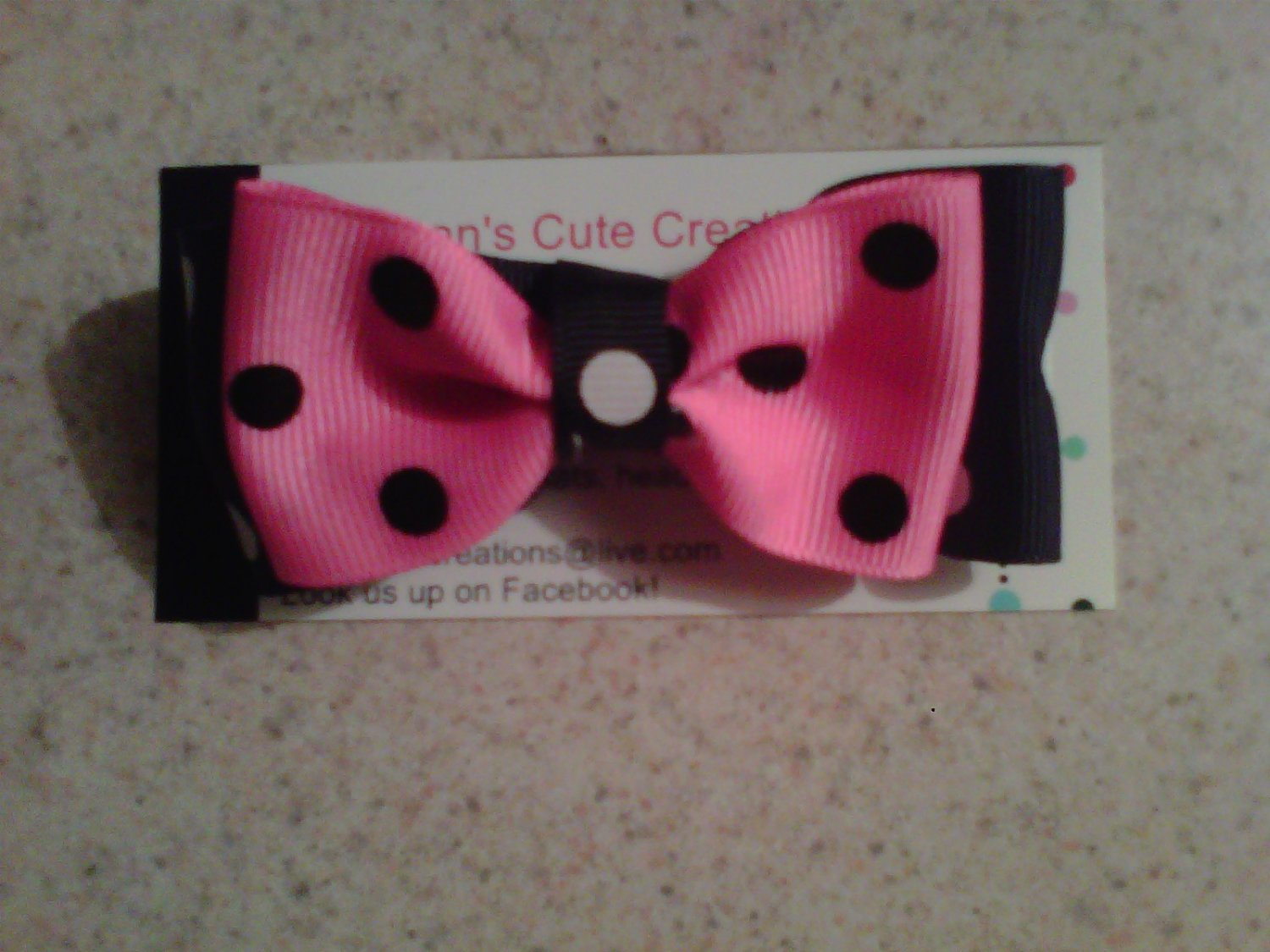 Pink,Black and White Stacked Bow Clip