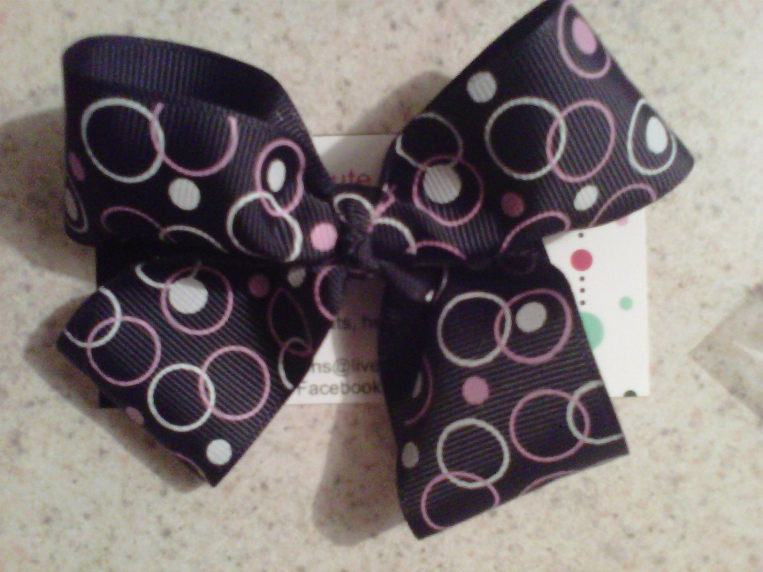 Black,Pink and White Circle Dots Bow Clip