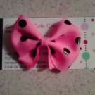 Pink,Black Dots Bow Clip