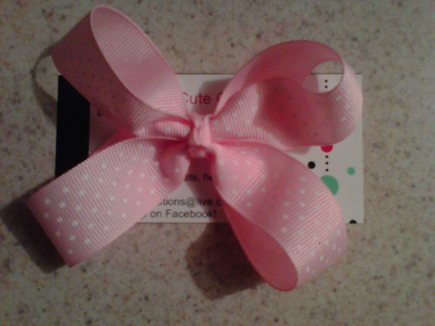 Pink,White Dots Bow Clip