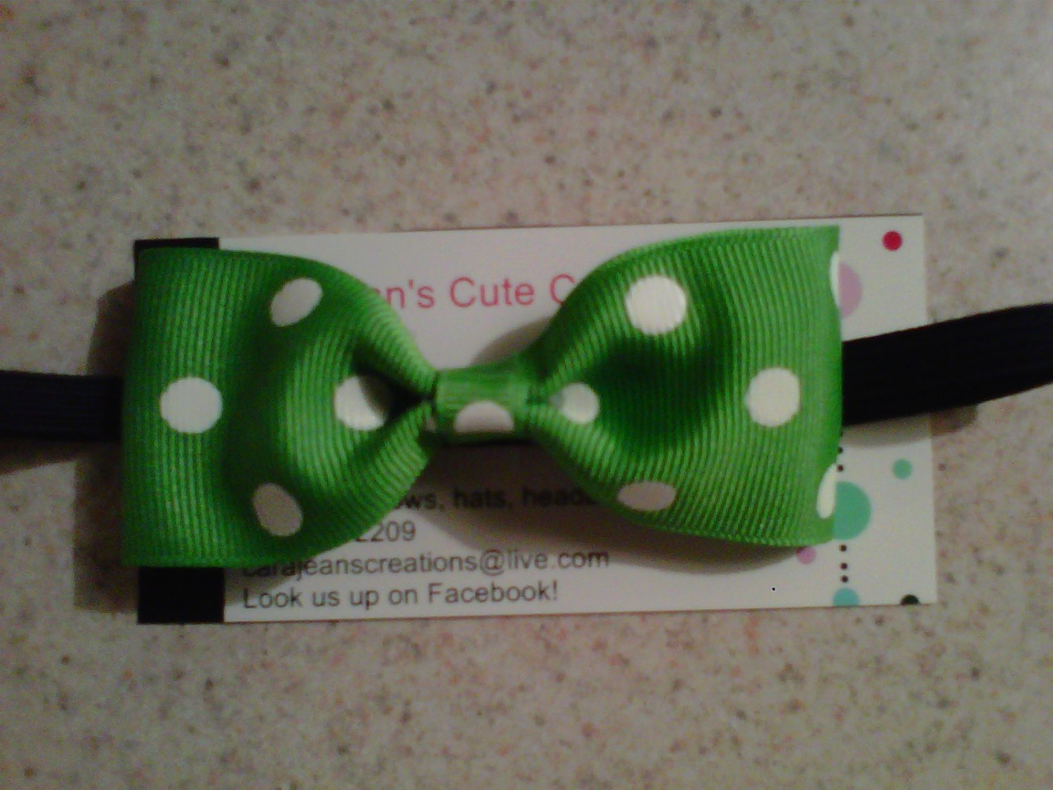 Green, White Dots Bow Tie