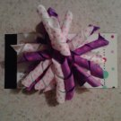 Purple and White Korker Bow Clip