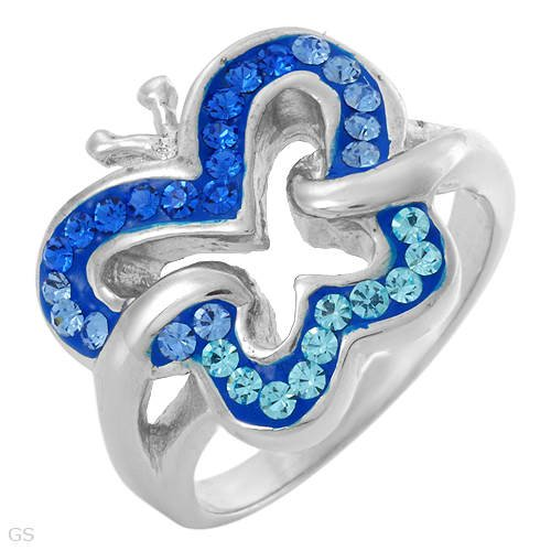 Beautiful Ring with Genuine Crystals Crafted in Blue Enamel