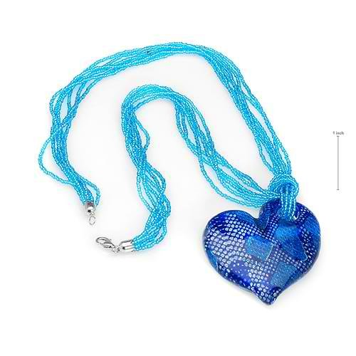 VENETIAURUM Heart with Genuine Glass Beads Sterling Silver Necklace