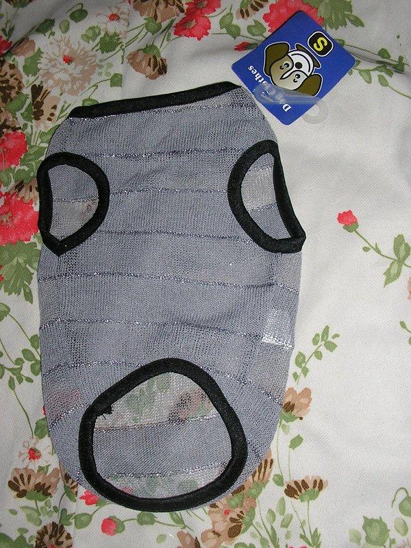 NWT stretch silver metallic sweater stripe dog clothes shirt costume dress size small