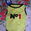 NWT stretch yellow #1 dog clothes shirt costume dress size small