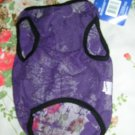 NWT stretch sheer floral purple lace dog clothes shirt costume dress size small