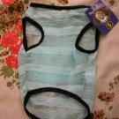 NWT stretch sheer aqua blue stripe dog clothes shirt costume dress size small
