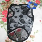 NWT stretch sheer black grey camo dog clothes shirt costume dress size small