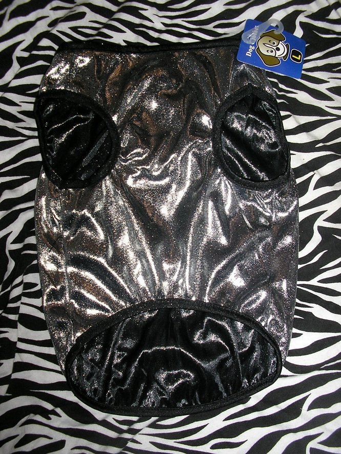 NWT stretch silver metallic lame dog clothes shirt costume dress size large